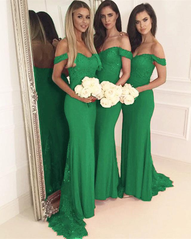 Long-Hunter-Green-Bridesmaid-Dresses-Mermaid-Appliques-Evening-Gowns