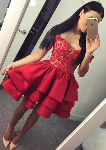 Image of Red-Prom-Short-Dresses