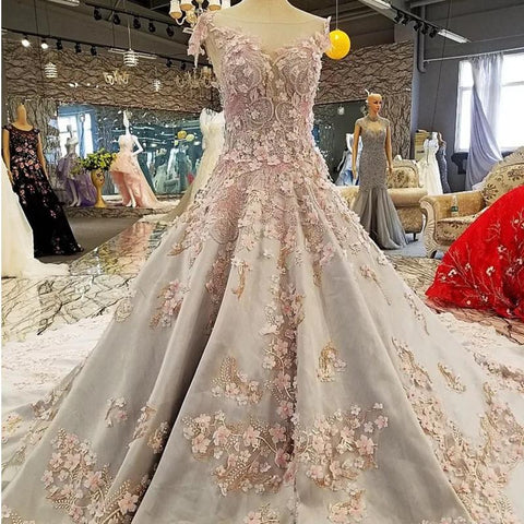 Image of Luxurious 3D Lace Flowers Light Blue Satin Ball Gown Wedding Dresses 2018