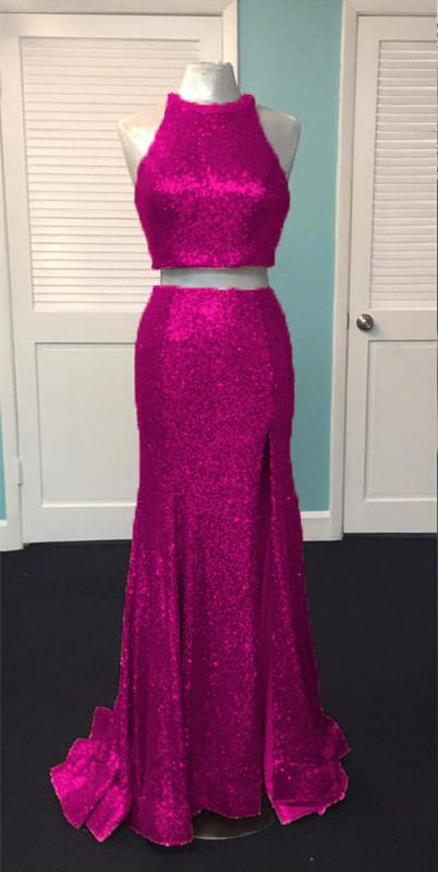 Rose Gold Sequin Two Piece Prom Dresses Mermaid Evening Gowns