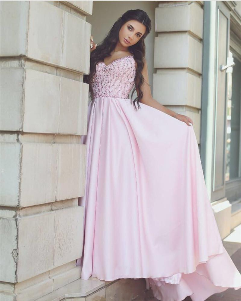 Pretty Pink Satin Evening Gowns Beaded V Neck Long Prom Dresses 2018