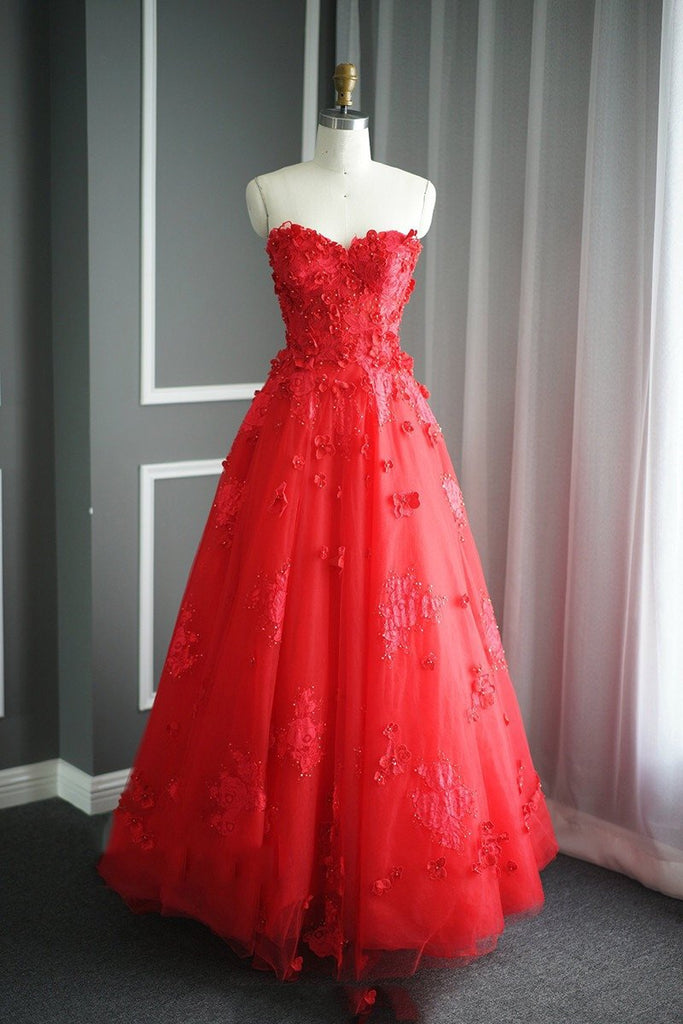 A Line Floral Lace Beaded Sweetheart Tulle Evening Gowns Long Prom Dress
