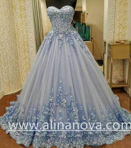 Image of Lovely Lace Appliques Sweetheart Light Blue Ball Gowns Wedding Dresses