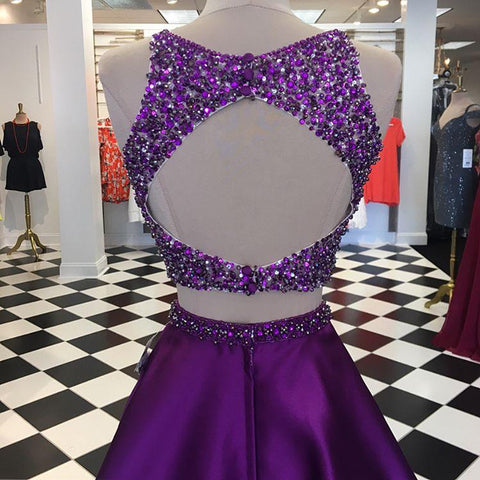 Image of Purple Satin Two Piece Homecoming Dresses Open Back Prom Gowns Crystal Beads