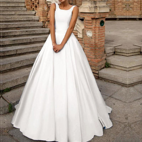 Image of Vintage Scoop Neck Bow Back Satin Ball Gown Wedding Dresses