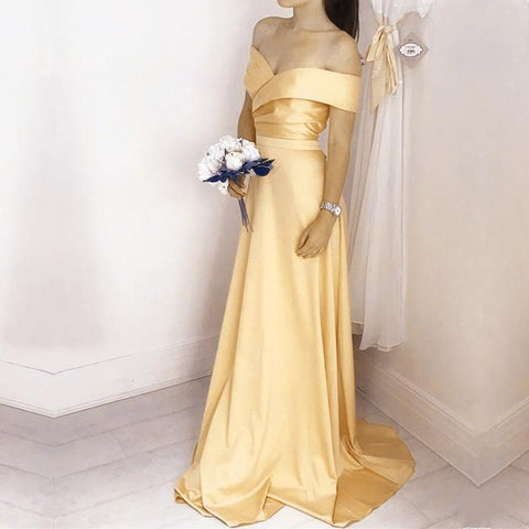 Image of Simple Satin V Neck Off Shoulder Long Bridesmaid Dresses