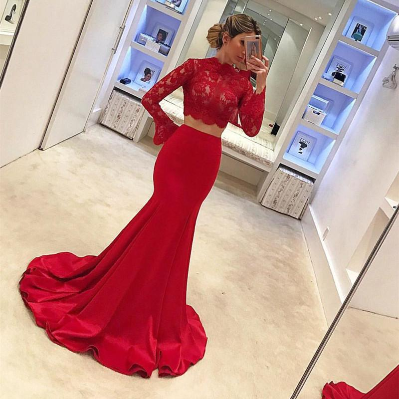 Long Sleeves Mermaid Prom Dresses Two Piece Evening Gowns 2018