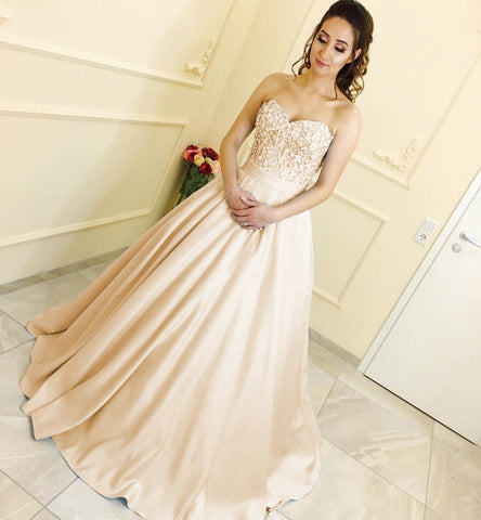 Image of Lace Sweetheart Satin Ball Gowns Floor Length Evening Dresses