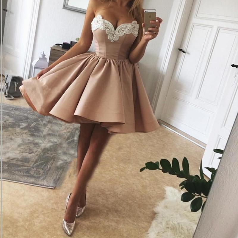 nude pink homecoming dresses