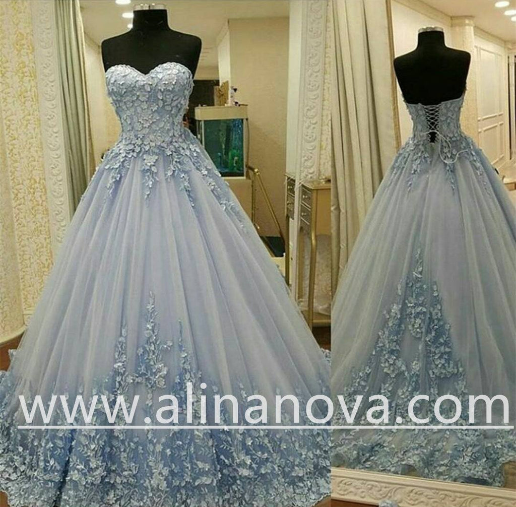 Lovely Lace Appliques Sweetheart Light Blue Ball Gowns Wedding Dresses