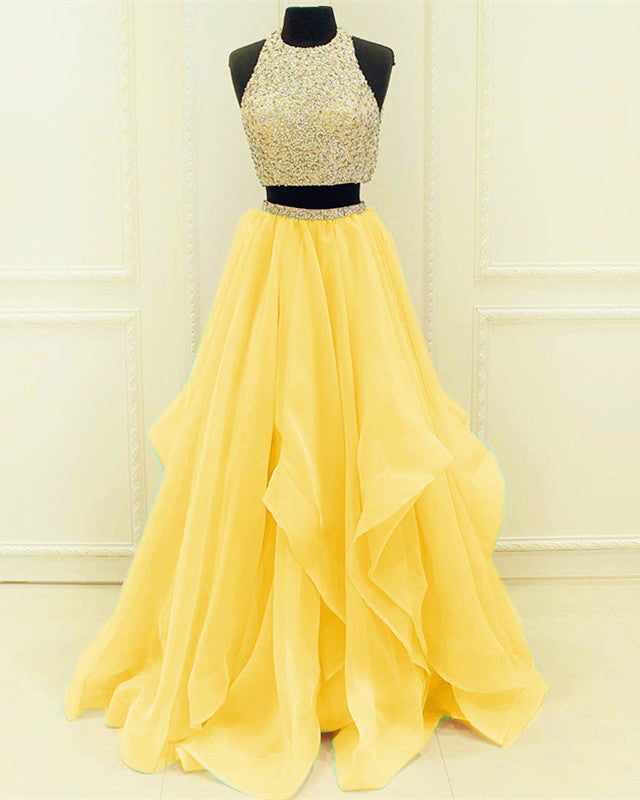 two piece sparkly two piece yellow prom dresses