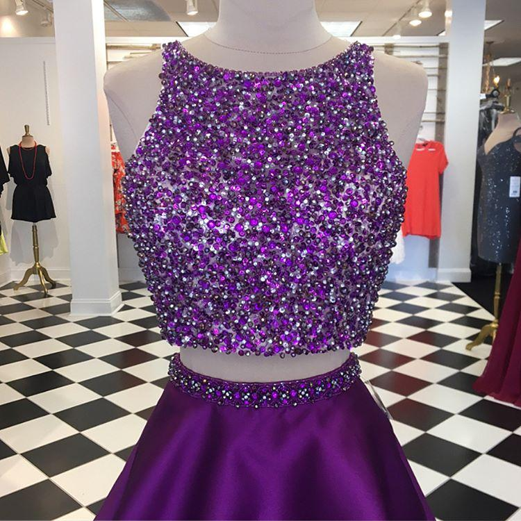 Purple Satin Two Piece Homecoming Dresses Open Back Prom Gowns Crystal Beads