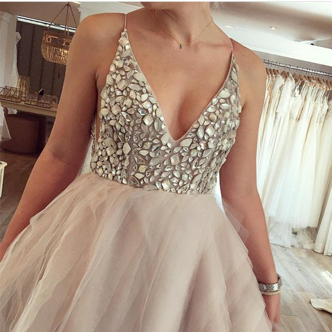 Image of Crystal Beaded V Neck Organza Layered Wedding Dresses Ball Gowns
