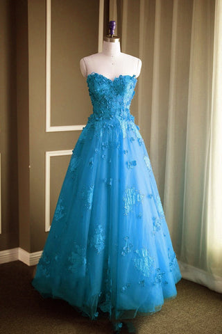 Image of A Line Floral Lace Beaded Sweetheart Tulle Evening Gowns Long Prom Dress