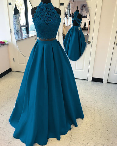 Image of A-line High Neck Open Back Satin Prom Dresses Two Piece