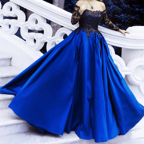 Black Lace Long Sleeves Prom Dresses Ball Gowns Off The Shoulder