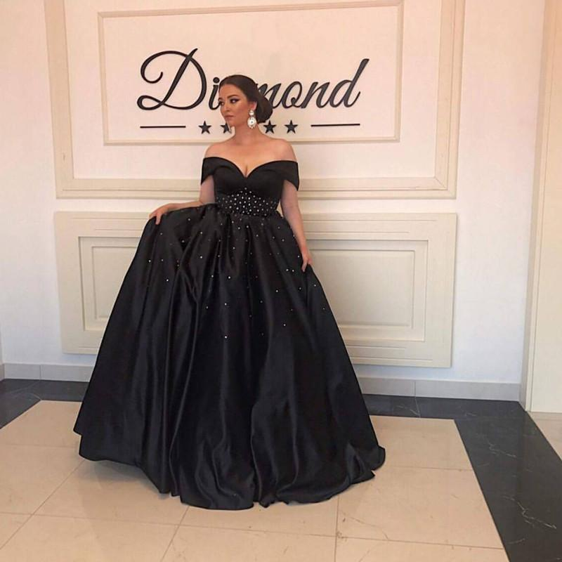 Long Black Satin Beaded Ball Gowns Prom Dresses Off The Shoulder