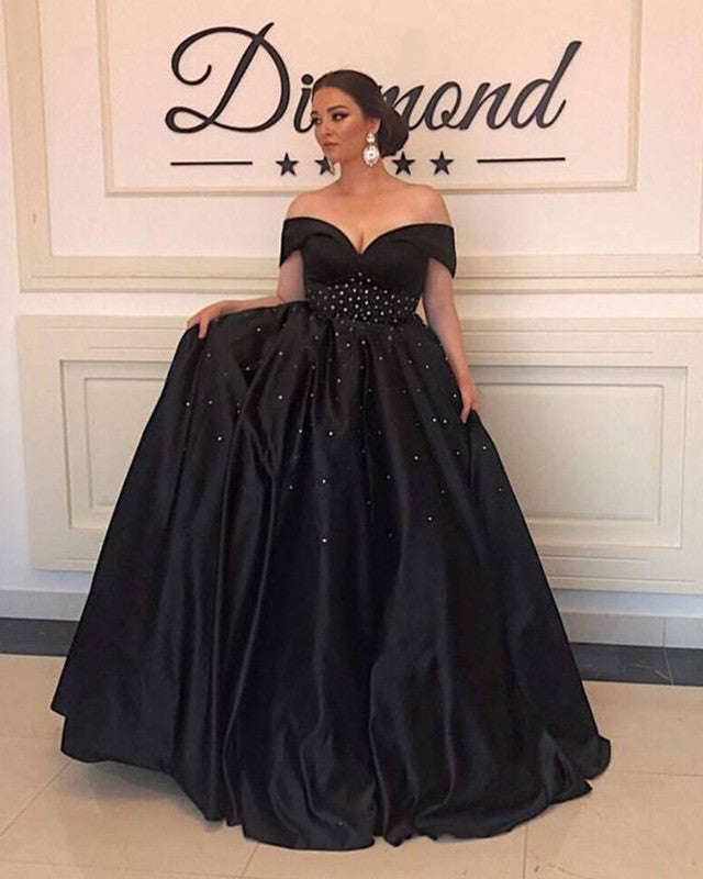 V-neck Off The Shoulder Long Black Satin Plus Size Prom Dresses ...