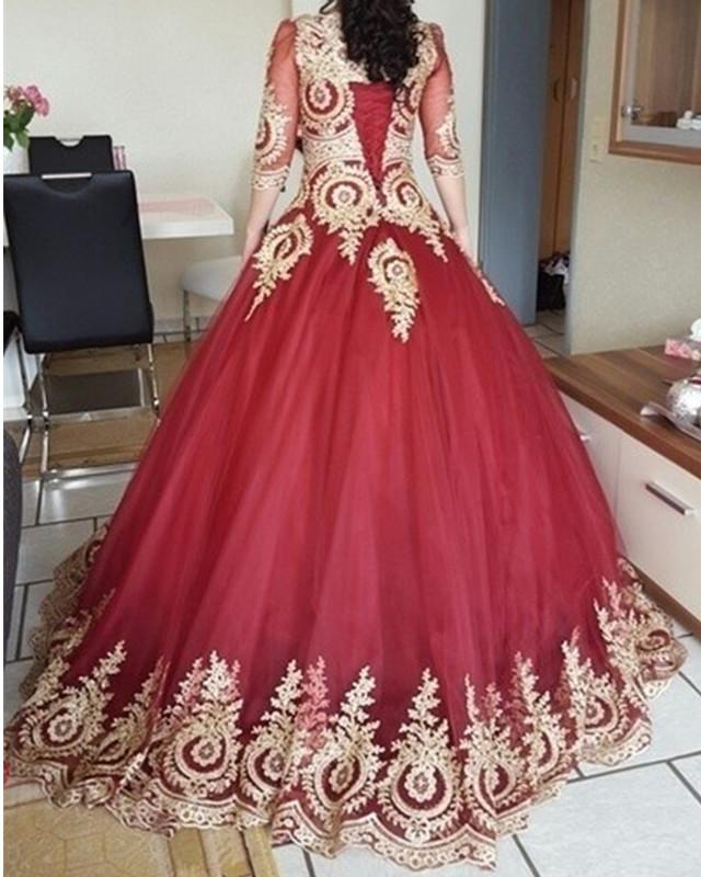 Burgundy-Tulle-Wedding-Dresses-Gold-Lace-Appliques-With-3/4-Sleeves