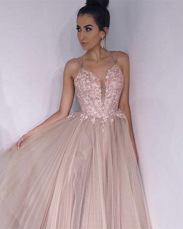 57803b1678 Long Tulle V-neck Embroidery Prom Dresses Cross Back Evening Gowns. Double  tap to zoom