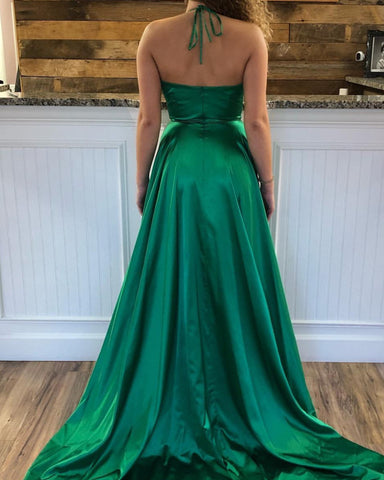 Sexy Long Satin Halter Prom Dresses Leg Split Formal Gowns