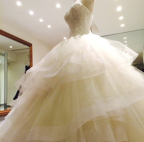 Image of Sequin Beaded Sweetheart Organza Ruffles Wedding Dress Ball Gowns