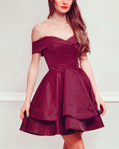 Image of Burgundy-Homecoming-Dresses-Short-Graduation-Dress-For-Women
