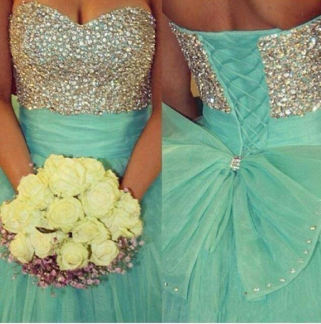Fully Beading Sweetheart Bow Back Quinceanera Dresses Ball Gowns