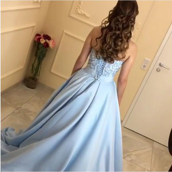 Lace Sweetheart Satin Ball Gowns Floor Length Evening Dresses