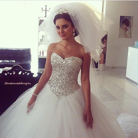 Image of crystal beading sweetheart bodice corset princess wedding dresses
