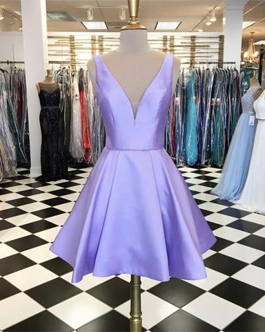 Image of Lilac-Homecoming-Dresses-Short-Satin-Cocktail-Party-Dress