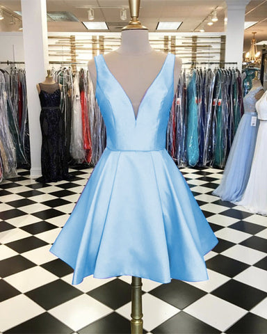 Image of Light-Blue-Homecoming-Dresses-V-neck-Satin-Semi-Formal-Dress