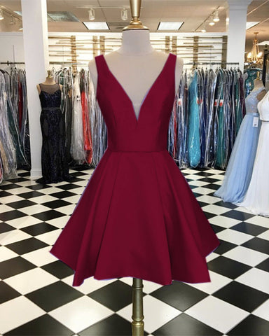 Image of Short-Burgundy-Prom-Gowns-Satin-Homecoming-Dress