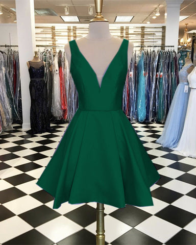 Image of Short-Green-Homecoming-Dresses-A-line-Prom-Gowns