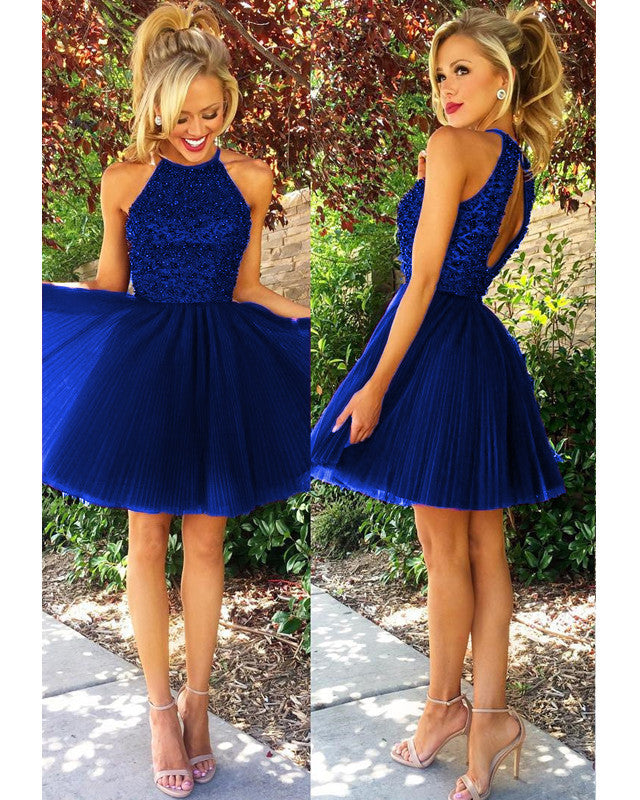 834d1bcf13f8 Short Tulle Halter Homecoming Dresses For Semi Formal Occasion ...