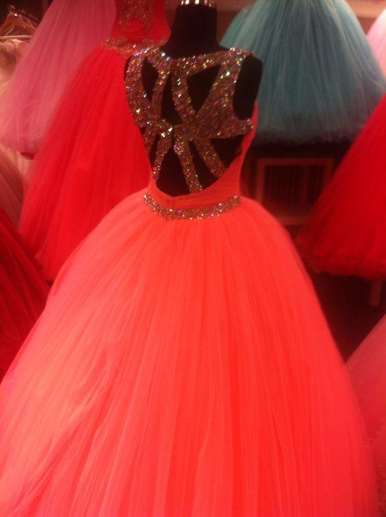 Unique Cross Back Design Tulle Coral Quinceanera Dresses Ball Gowns Crystal Beading