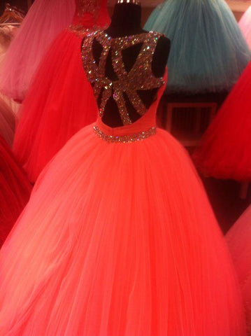 Image of Unique Cross Back Design Tulle Coral Quinceanera Dresses Ball Gowns Crystal Beading