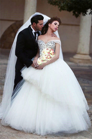 Image of Bling Bling Pearl And Crystal Beaded Wedding Dress Ball Gown Off Shoulder