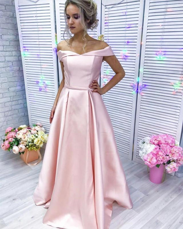 Baby Pink Long Satin Off Shoulder Bridesmaid Dresses