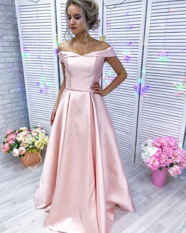 Image of Baby Pink Long Satin Off Shoulder Bridesmaid Dresses