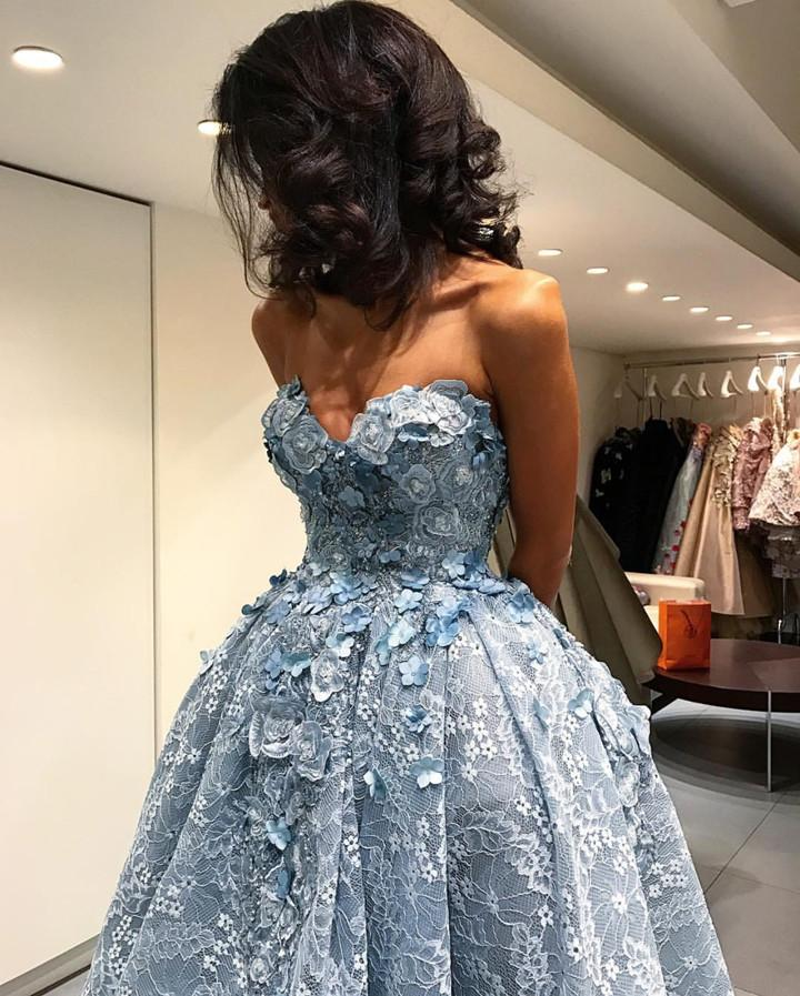 Amazing Gray Lace Sweetheart Lace Prom Dresses Front Short Long Back