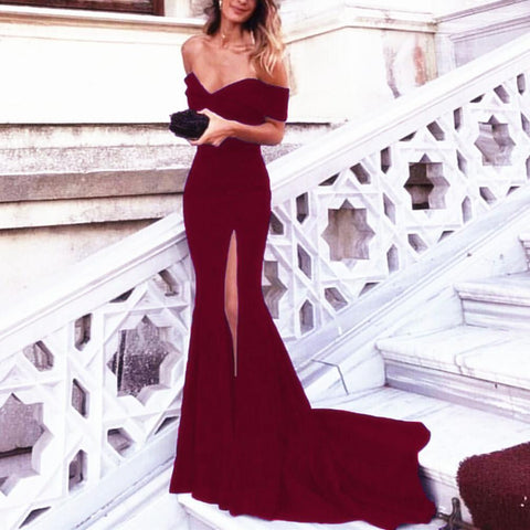 Image of Burgundy-Mermaid-Dress