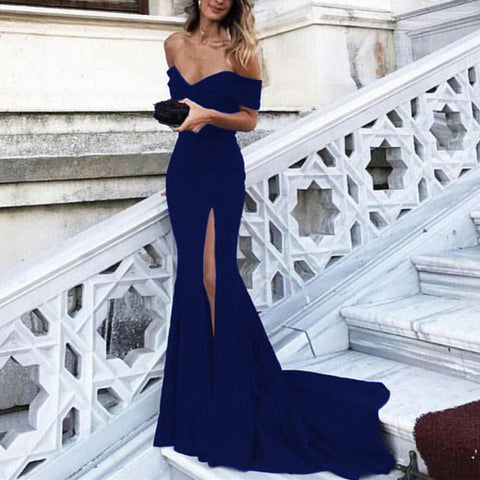 Image of Navy-Blue-Prom-Dresses