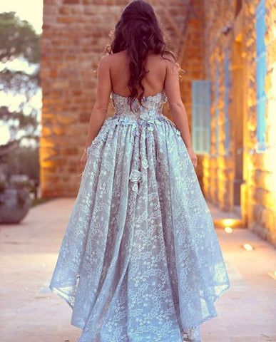 Image of Amazing Gray Lace Sweetheart Lace Prom Dresses Front Short Long Back