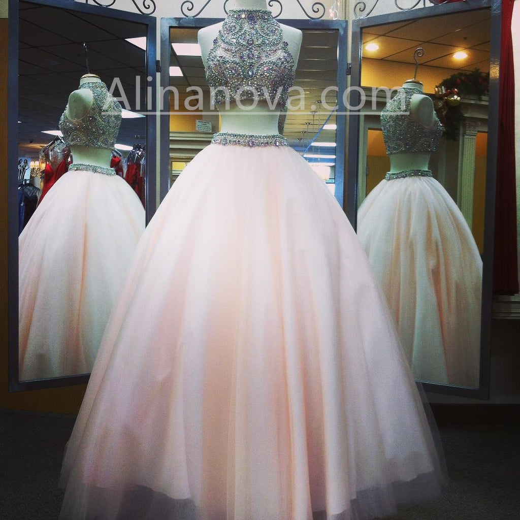 Pearl Pink Organza Ball Gowns Quinceanera Dresses 2017 Two Piece Prom Dresses