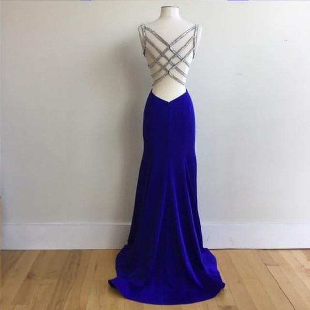 Royal Blue Satin V Neck Mermaid Evening Dresses With Cross Back