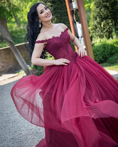 Image of Burgundy Lace Appliques Off Shoulder Tulle Wedding Dresses Ball Gowns