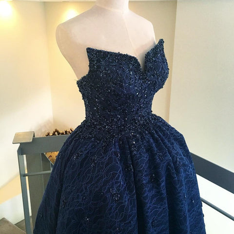 Image of Beading Strapless Lace Prom Dresses Front Short Long Back Evening Gowns