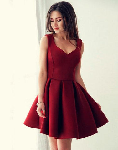 Image of Sexy Spaghetti Straps V-neck Satin Homecoming Dresses Short Prom Gowns