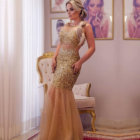 Image of champagne crystal beaded long tulle open back mermaid evening dress